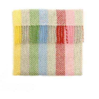 Baby Pram Blanket Rainbow Grey Stripe