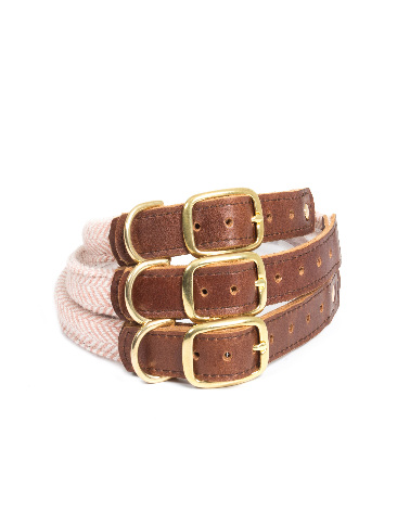 Rolled Collar - Herringbone Dusky Pink
