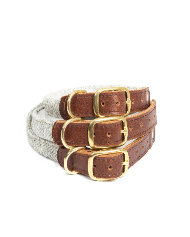 Rolled Collar - Herringbone Silver Grey