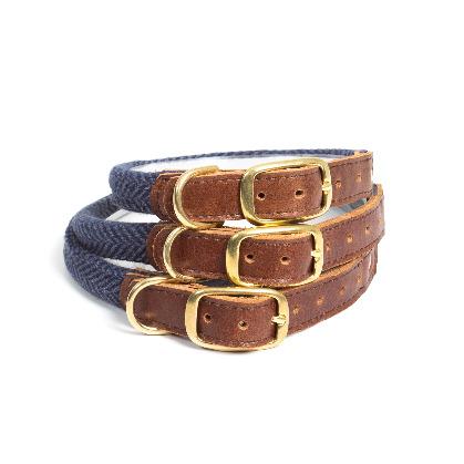 Rolled Collar - Herringbone Navy