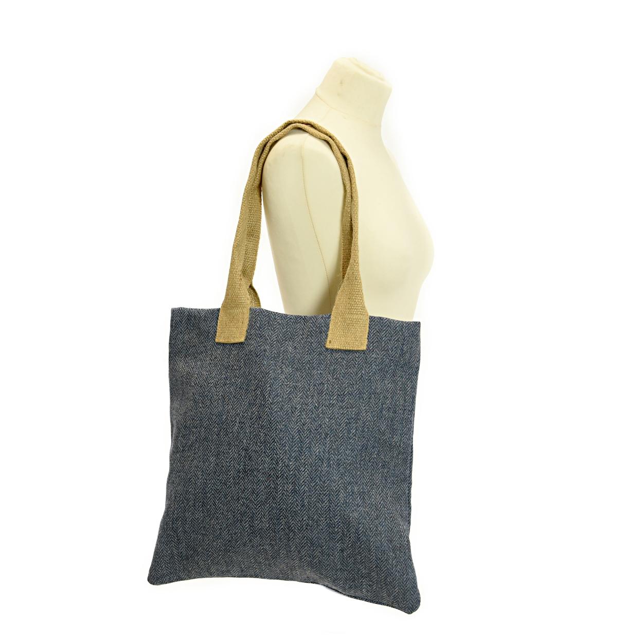 Bag Shopper Tweed Herringbone Blue Moon