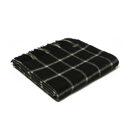 Throw Lambswool Chequered Check Black