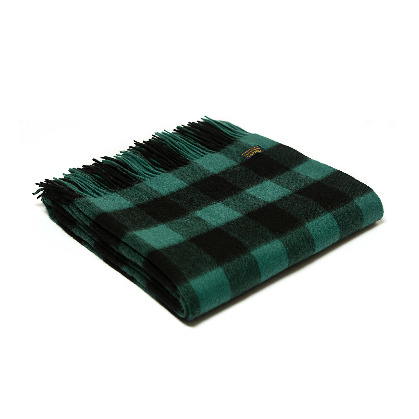 Throw Lambswool Chequered Board Emerald