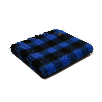 Throw Lambswool Chequered Board Royal Blue