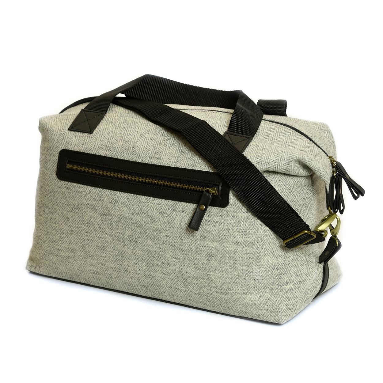 Weekender Bag Herringbone Silver Grey